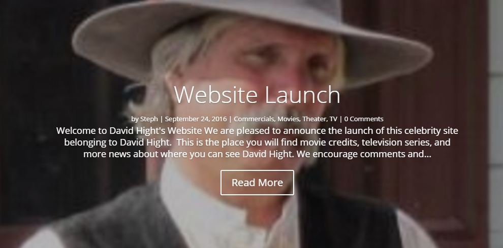 A Bio Site Featuring David Hight - Actor, Artist and Entrepreneur